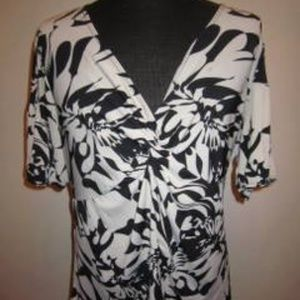 Charming White/Black Floral Plus Size Blouse